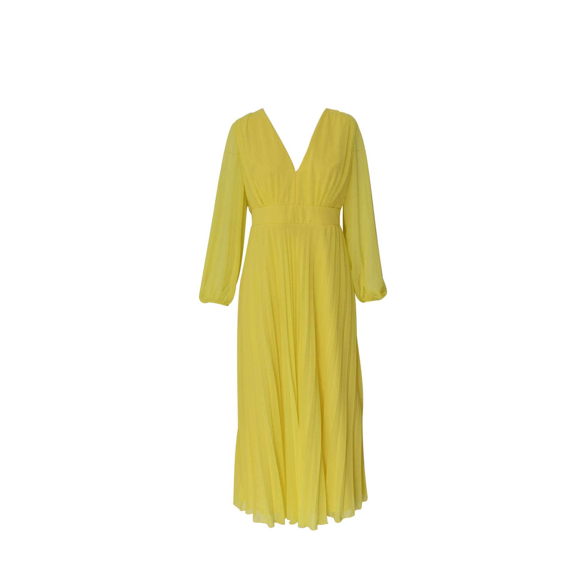 MIX & MATCH PLEATED DRESS - 19008 YELLOW