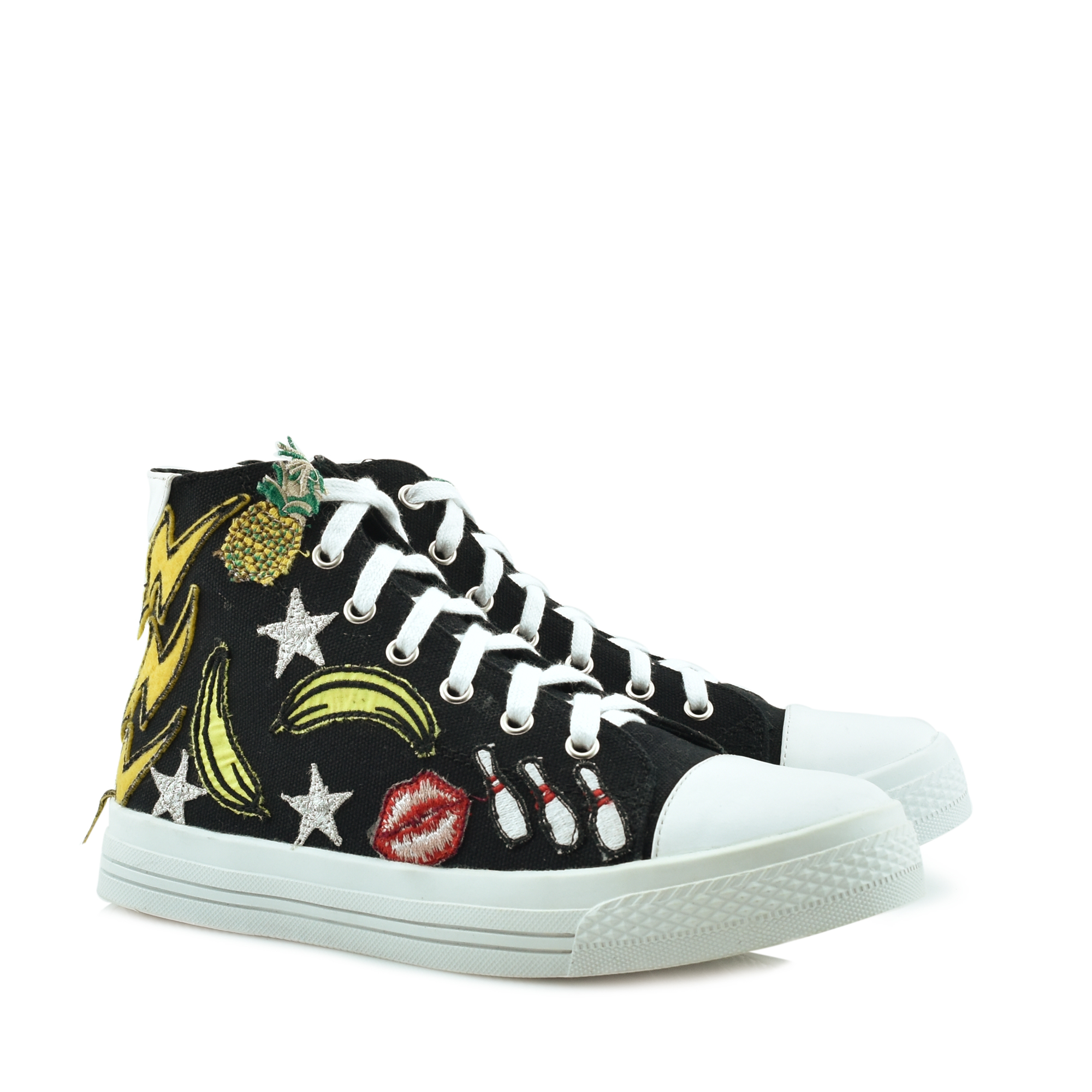 JEFFREY CAMPBELL BLACK/WHITE - JEFFREY STAR SNEAKERS